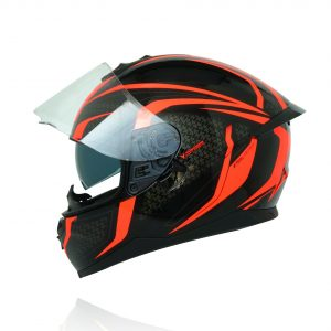MŨ FULLFACE YOHE 967 GLOSSY BLACK/ FLUO RED